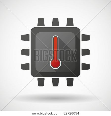 Cpu Icon With A Thermometer