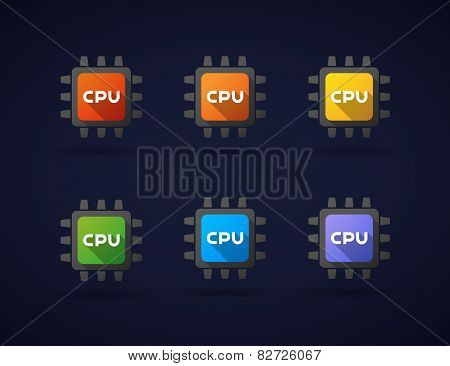 Colored Cpu Icon Set