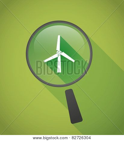 Magnifier Icon With A Wind Generator