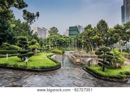 ornamental garden Kowloon Walled City Park in Hong Kong