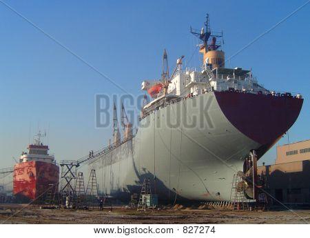 Vessel undergoing repairs