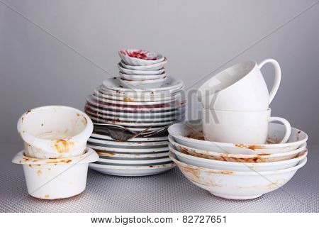 Dirty dishes on gray background