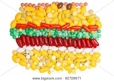Heap of vitamins, isolated. Healthcare concept.