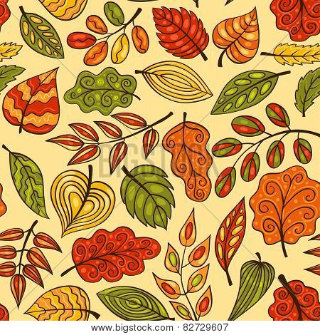 Hand-drawn Seamless Pattern With Autumn Leaves