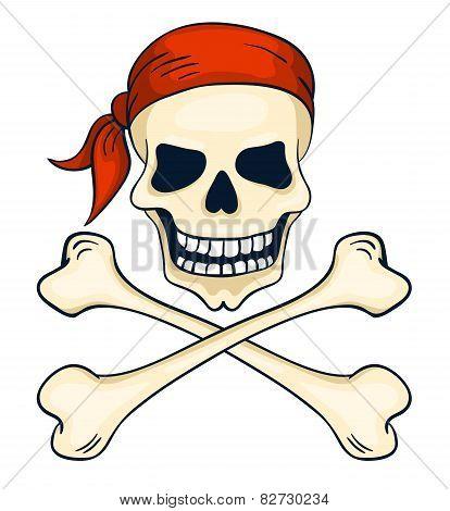 Cartoon Hand-drawn Pirate Skull Isolated On White