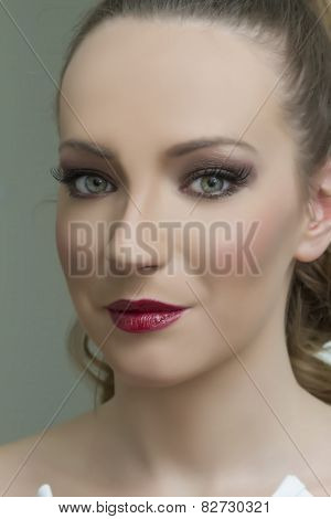 Glamour Portrait Of Beautiful Woman Model With Dark Makeup And Romantic Wavy Hairstyle. Fashion Shin
