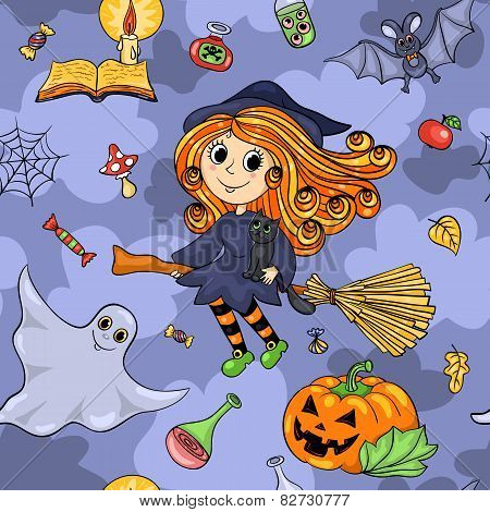Cute Cartoon Halloween Seamless Pattern With Flying Witch