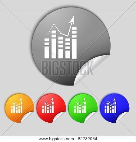Text File Icon. Add Document With Chart Sign. Accounting Symbol. Set Colour Buttons Vectorns Vector
