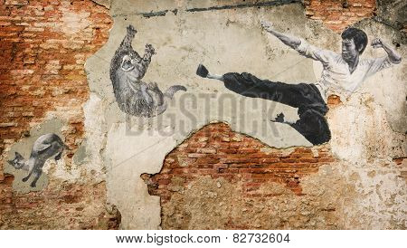Malaysia, Penang, Georgetown - Circa Jul 2014: A Black And White Mural Of Bruce Lee Attacking A Cat