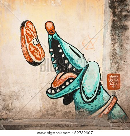 Malaysia, Penang, Georgetown - Circa Jul 2014: Large Mural Of A Blue, Cartoon Style Dog Catching A S