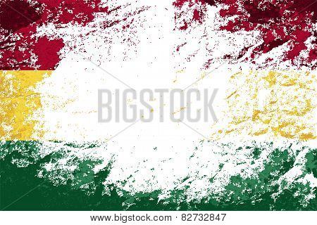 Bolivian flag. Grunge background. Vector illustration