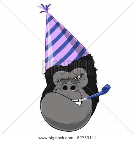 Gorilla head with hat