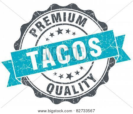 Tacos Vintage Turquoise Seal Isolated On White