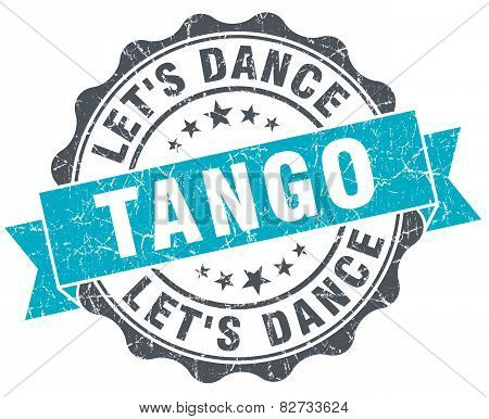 Tango Vintage Turquoise Seal Isolated On White
