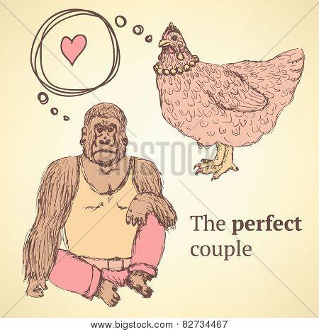 Sketch Chicken And Gorilla In Vintage Style