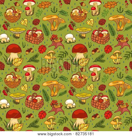 Seamless Pattern With Mushrooms Green