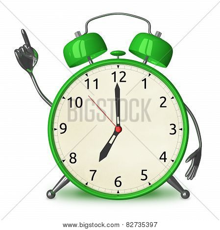 Green Alarm Clock With Idea