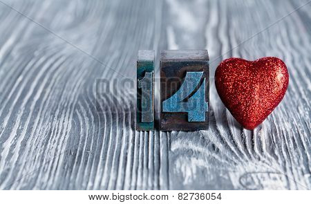 Love Concept. Valentines Day. 14 February. Read Toy Heart. Clothespins. (soft Focus, 14 Written With