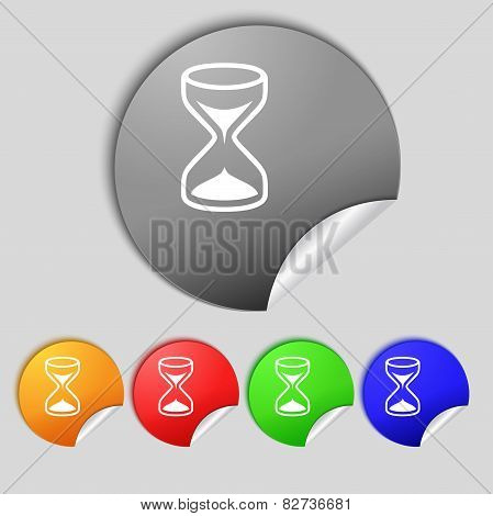 Hourglass Sign Icon. Sand Timer Symbol. Set Of Colour Buttons. Vector