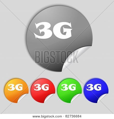 3G Sign Icon. Mobile Telecommunications Technology Symbol.  Set Of Colour Buttons. Vector