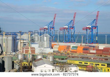 Odessa Cargo Port With Grain Dryers And Colourful Cranes,ukraine,black Sea,europe