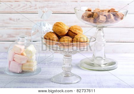 Sweet Pastry Balls With Caramel Filling Biscuits