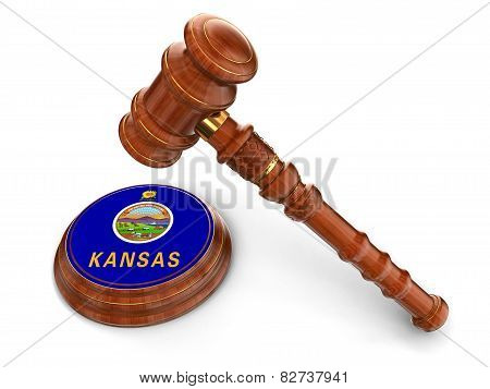 Wooden Mallet and flag Of Kansas (clipping path included)