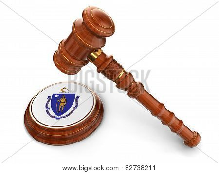 Wooden Mallet and flag Of Massachusetts (clipping path included)