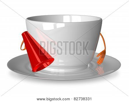 Empty Cup Character With Megaphone