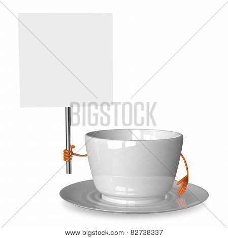 Empty Cup Character With Placard