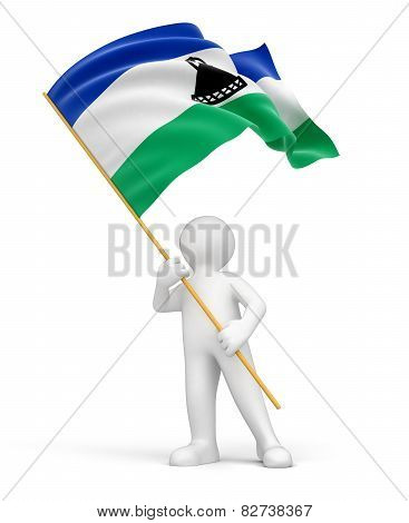 Man and Lesotho flag (clipping path included)