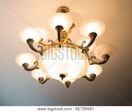 Chandelier on ceiling