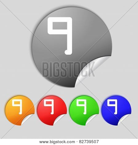 Number Nine Icon Sign. Set Of Coloured Buttons. Vector