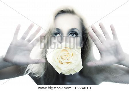 Beautiful Woman With Silver Make-up Holding Flower Of White Rose