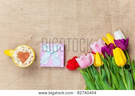 Cappuccino And Gift Box Near Flowers
