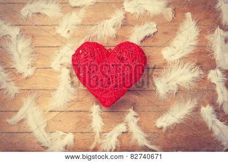 Toy Heart Shape And Feathers