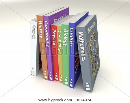Colored english school books line