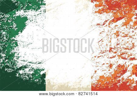 Irish flag. Grunge background. Vector illustration
