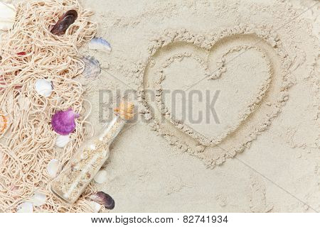 Cappuccino And Net With Shells On Sand