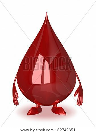 Blood Drop Character Isolated