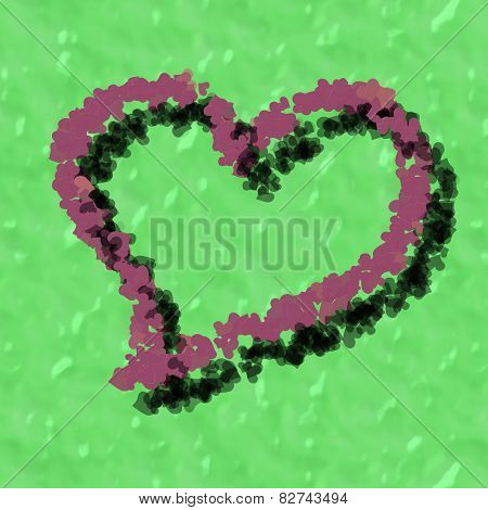 Composed old rose heart on green background