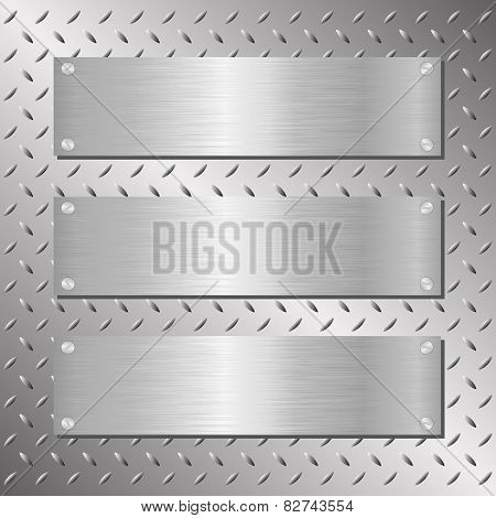 Three Horizontal Blank Silver Metal Plaques