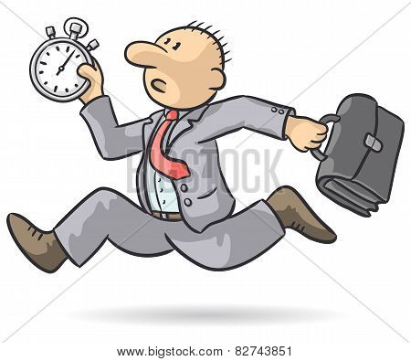 Person Runs With Stopwatch