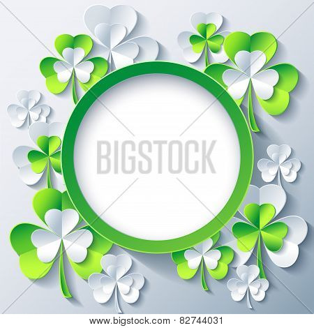 Patricks Day Background, Frame With 3D Leaf Clover