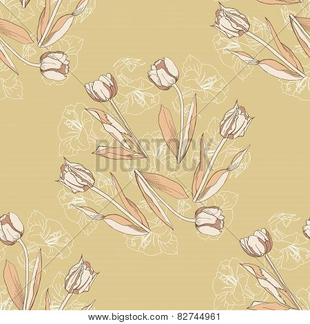 Seamless pattern with tulips flowers-02