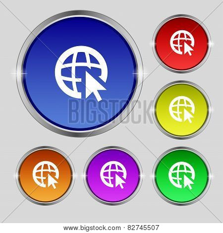 Internet Sign Icon. World Wide Web Symbol. Cursor Pointer. Set Colour Buttons Vector