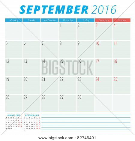 Calendar 2016 Vector Flat Design Template. September. Week Starts Monday