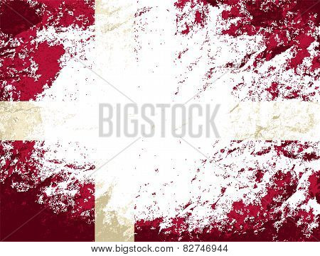 Danish flag. Grunge background. Vector illustration