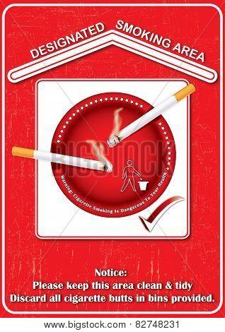 Red Designated smoking area - printable sticker