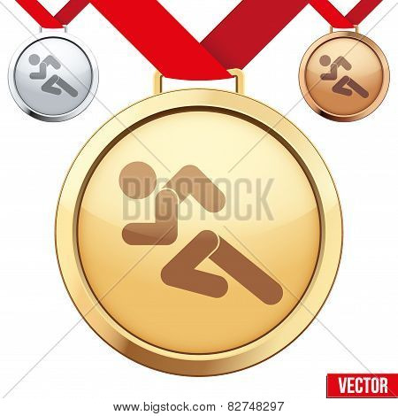 Gold Medal with the symbol of running people inside